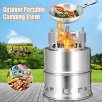 Portable Outdoor Camping Wood Stove Pocket Hiking BBQ Grill Stainless steel