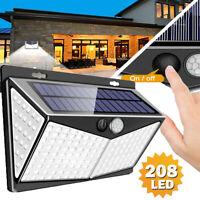 208 LED Solar Power PIR Motion Sensor Wall Light Garden Lamp Waterproof Outdoor