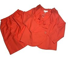 NWT Allison Woods Coral Two Piece Suit Blazer Skirt Ruffle Collar Women Plus 16W