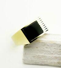 Ring Herren Siegelring mit Onyx Echt Gold Gelbgold 585 14k  gr 58