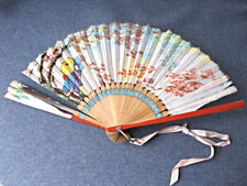 Antique Hand painted geishas with umbrellas & flowers silk bamboo hand fan Japan