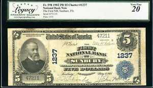 1902 $5 National Bank Note First NB of Sunbury, PA Fr. 598 Ch #1237 VF20 #47211H