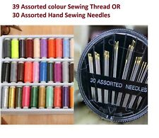 39 Assorted Colour Polyester Strong Sewing Thread Spool Set OR 30 Needles Gold