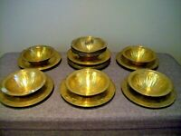 Antique 19th Century Set of Twelve Vintage Islamic Brass Bowls and Saucers