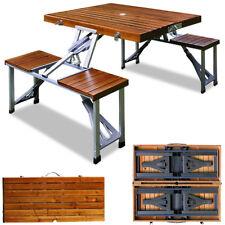 Camping Sitzgruppe Alu Sitzgarnitur Tisch Stuhl Campingmöbel Holz klappbar Set