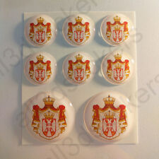 Pegatinas Serbia Escudo de Armas Vinilo 3D Relieve Pegatina Serbia Redondas Moto