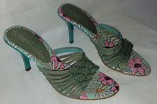 Womens sam & libby green floral open toe simple pump dress heels sz 6M