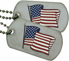 American Patriotic USA Flag Military Dog Tags Set w/ Stainless Steel Ball Chains