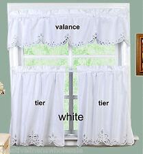 """White Battenburg Lace Kitchen Curtain Valance & 24"""" Tiers-3PCS Creative Linens"""
