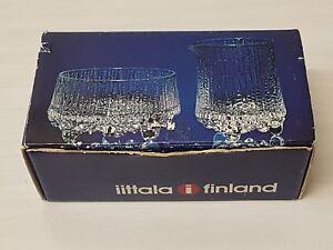 🔴60's IITTALA FINLAND ULTIMA THULE GLASS, BOXED TAPIO WIRKKALA danish modern