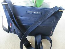 Tommy Hilfiger Blue Nylon Crossbody Bag With Logo And Signature Strap New