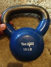 Yes 4ALL 15lb Coated Rubber Kettlebell FREE SHIPPING Blue