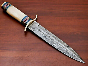 Rody Stan HAND MADE DAMASCUS BLOOD GROOVED DAGGER KNIFE - BRASS GUARD - AS-40