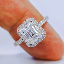 Fine 1.95 Ct Emerald Cut Diamond Halo U-Setting Engagement Ring H,VVS2 GIA 18K