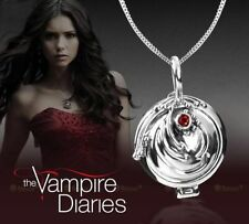 Vintage Vampire Diaries Elena Vervain Red Silver Crystal Charm Pendant Necklace