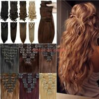 New Real 8 Piece Full Head Clip In Hair Extension Straight Wavy Dip Dye As Human