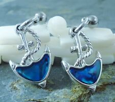 Nautical Anchor Post Earrings with blue Paua Shell inlay
