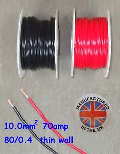 Thin wall cable 10.0mm², (7AWG) 70amp, Auto, Marine, Low Voltage,     TW10.0