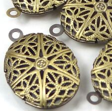 5 Antique Bronze Filigree Hollow Locket Oval Pendants 24x16mm