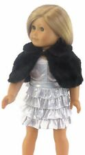 Silver Sparkle Dress, Fur Cape & Pearls for 18 inch American Girl Doll Clothes