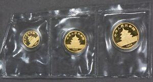 PROOF 1988 1/20 oz, 1/10 oz, 1/4 oz CHINA GOLD PANDA 3 COIN LOT OMP SEALED #Q108