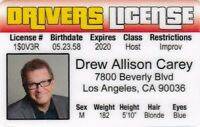 DREW CAREY star of the Price is Right plastic collector card Drivers License