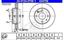 2x ATE Discos de freno delanteros Ventilado 257mm 24.0124-0706.1