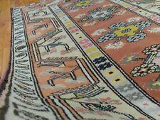 Stunning Antique Cr1900-1939s 4x6ft Muted Natural Dyes Turkish Ushak Rug