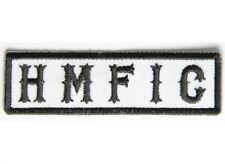 "(H10) HMFIC Black on White 3.5"" x 1"" iron on patch (4992) Biker Club SOA"