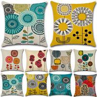 Floral Printed Cotton Linen Pillow Case Throw Square Cushion Cover Home Decor