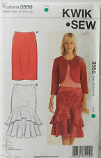 KwikSew Pattern #3550 Misses Skirt Straight Fitted Lined Size (XS-S-M-L-XL)