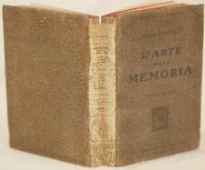 GENERALE PLEBANI L'ARTE DELLA MEMORIA MEMORY MNEMOTECNIA TRIFORME 1912 HOEPLI