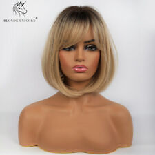 Sexy BOB Synthetic Wigs with Bangs for Women Real Hair Looking Soft Ombre Blonde