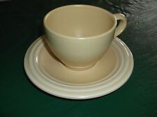 NEW A Set Of Pfaltzgraff Flat Cup and Saucer w Bands around them. Cream yellow