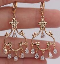 """18K Gold Filled- 2"""" Hollow Flower Bosnian Swirl Waterdrop Chandelier Earrings SW"""