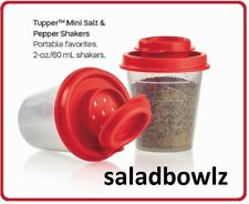 TUPPERWARE New TUPPER MINI SALT & PEPPER SHAKERS Pair POPPY Red Shaker Midgets