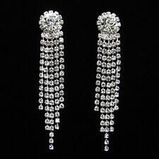 Non-Pierced Sparkling Crystal Diamante Rhinestone Chandelier CLIP ON Earrings