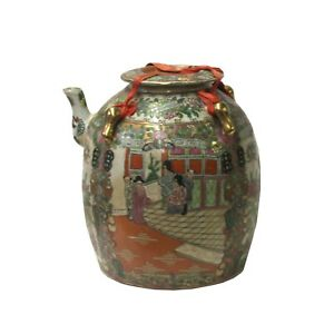Chinese Oriental Porcelain People Scenery Teapot Shape Container Decor ws781