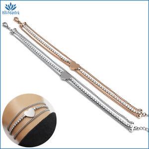 Bracciale da donna multifilo tennis con cuore braccialetto in acciaio inox per a
