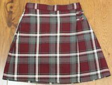 Lands End Cranberry Plaid Skirt sz 6X Girls Preppy Uniform Elastic Waist