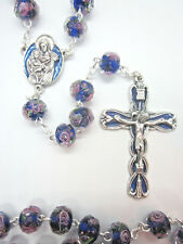 """Rosary Faceted Crystal Beads Blue with Pink Roses 21""""  Italy"""