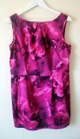 Warehouse Striking Pink & Purple Muted Print Tailored Pencil Dress SIZE UK 16