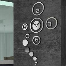 3D DIY Wall Clock Modern Design Mirror Surface Wall Sticker Clocks Home Decor