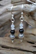 Handmade earrings with Sterling Silver White Jade & Black Onyx.