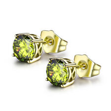 HUCHE Green Diamond Sapphire Gems 14K Gold Filled Stud Lady Banquet Earrings NEW