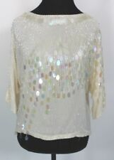 Vintage Oleg Cassini Iridescent Beaded Sequined Blouse Top Women's size Small