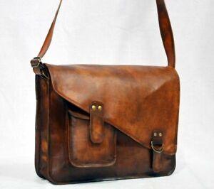 """15"""" New Brown Mens Genuine Vintage Leather Messenger Satchel Shoulder Laptop bag"""