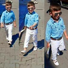 US 3PCS Baby Boys Plaids Shirt + Pants +Belt Set Kids Casual Clothes Outfits 3T