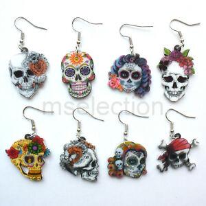 Skull Laser Cut Acrylic Earrings silver glitter earrings Halloween horror skulls