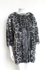 Designer Harrods UTZON Grey Leopard Print Real Fur Coat F38 uk 10 £1800
